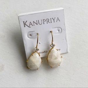 Kanupriya Drop Earrings Gold Tone Faceted Stones